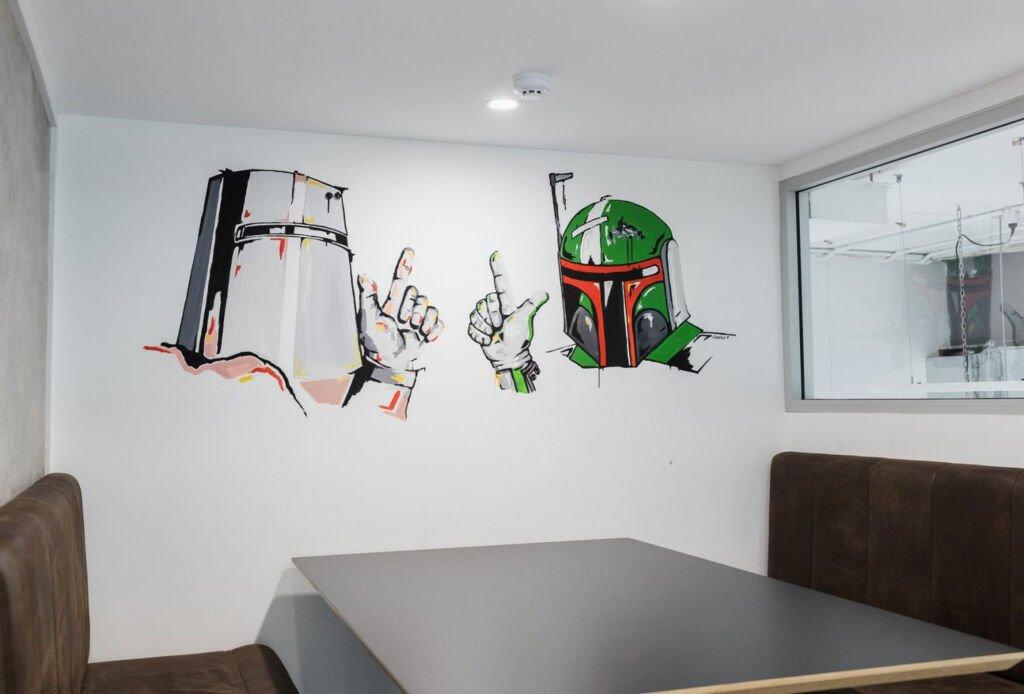 #morethanspace #interiordesign #commercialdesign #officedesign #workplacedesign #workspacedesign #industrialofficedesign #streetart #breakout #acoustics #colourinofficedesign #officepooltable  #wallmural #customartwork #wallart