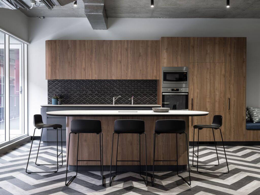 #morethanspace #interiordesign #commercialdesign #officedesign #workplacedesign #workplacecollaboration #kitchendesign #tiledsplashback #herringbonefloor #functionalspaces #workspacedesign #industrialofficedesign #customjoinery